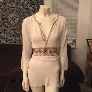 Together Cream Beaded Empire Tunic Top Size 14